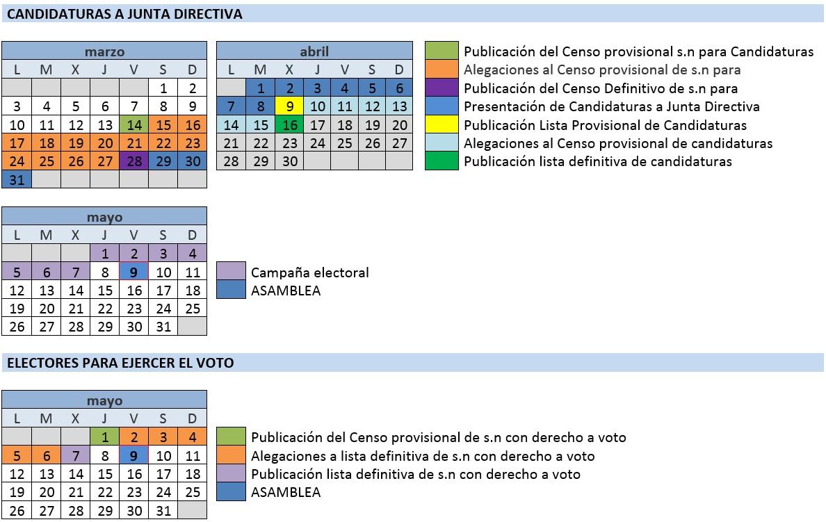 Calendario electoral Asamblea 2014